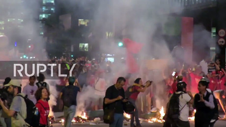 Sao Paolo police shut down anti-Temer demo with tear gas & water cannon
