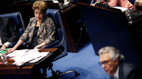 Dilma Rousseff during a final session of debate and voting on Rousseff's impeachment trial in Brasilia, Brazil, August 29, 2016. © Ueslei Marcelino