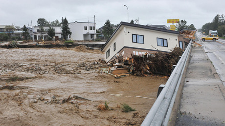 This picture provided by Tokachi Mainichi Newspaper via Jiji Press on August 31, 2016 shows a house swept down a river at the town of Shimizu in Hokkaido prefecture, after Typhoon Lionrock struck overnight. © Tokachi Mainichi