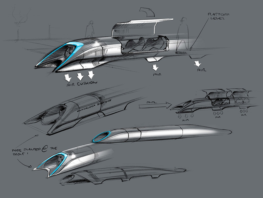 The concept drawing of the Hyperloop, a fast transport design unveiled August 12, 2013 by Elon Musk © Tesla Motors