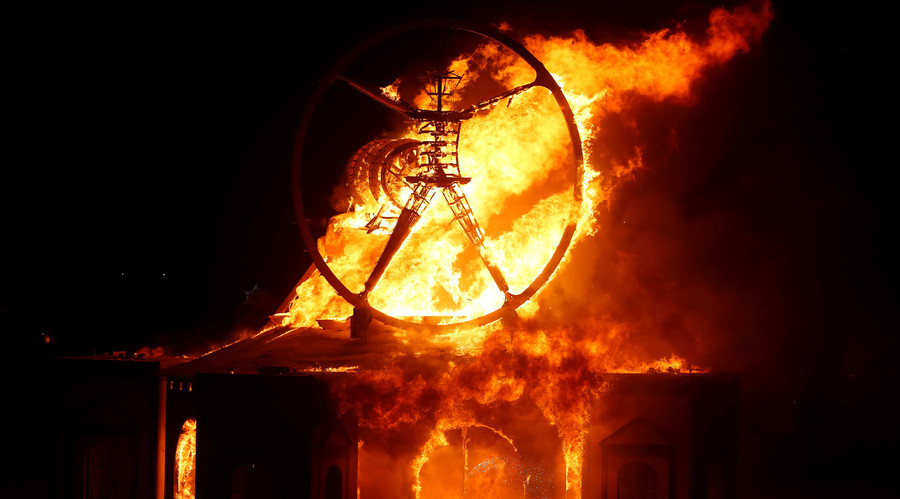 The Man burns as approximately 70,000 people from all over the world gather for the 30th annual Burning Man arts and music festival in the Black Rock Desert of Nevada, U.S. September 3, 2016. © Jim Urquhart