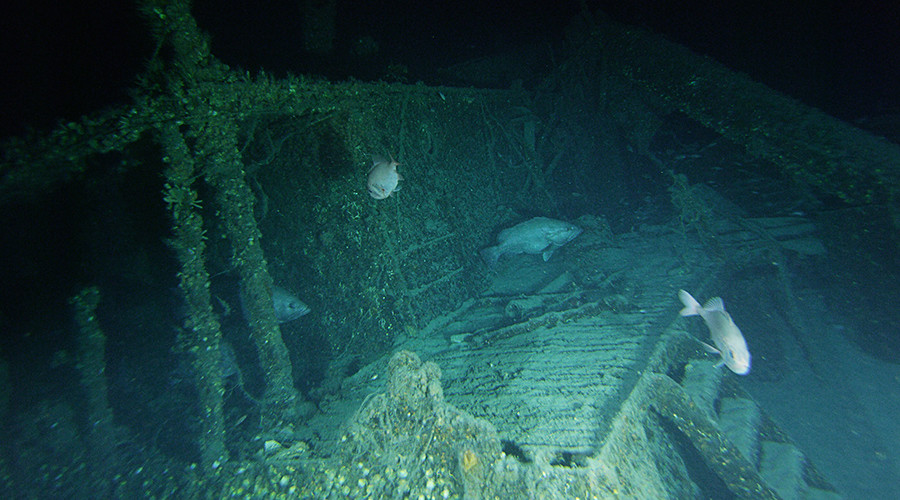 A video frame grab of the stern cabin of the SS Bluefields. Bluefields is very intact and rests in 730 feet of water, only 600 feet from U-576 © John McCord, UNC Coastal Studies Institute - Battle of the Atlantic expedition
