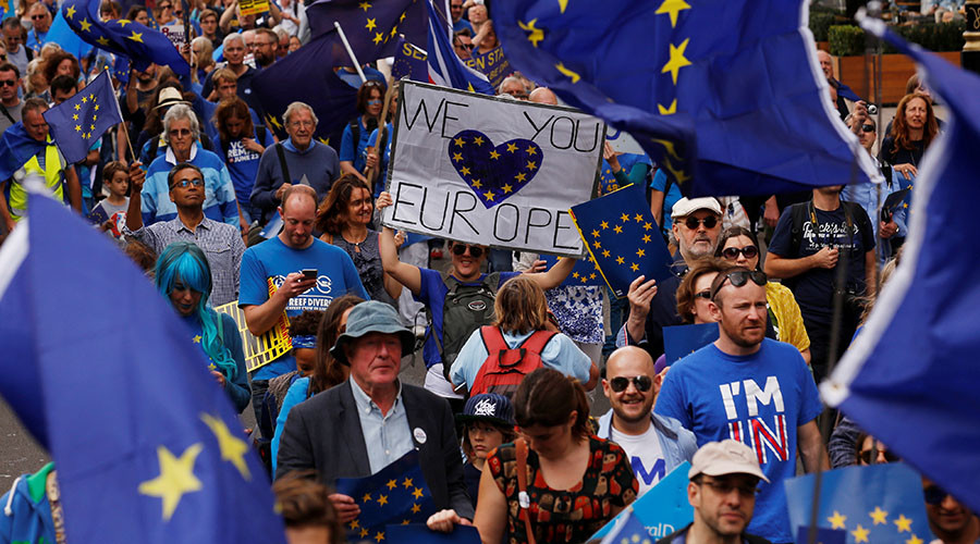 "Pro-Europe demonstrators protest during a ""March for Europe"" against the Brexit vote result earlier in the year, in London, Britain, September 3, 2016. © Luke MacGregor"