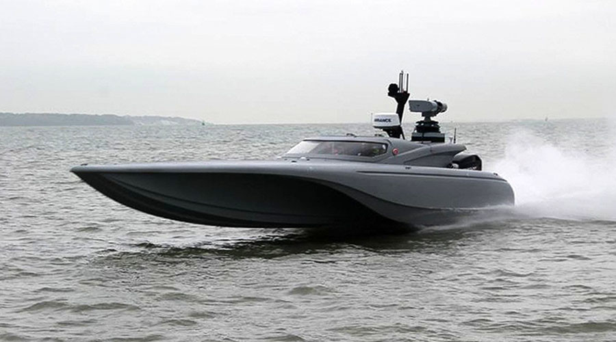Showboating: Royal Navy test-drives new 'Batman' drone boat on Thames