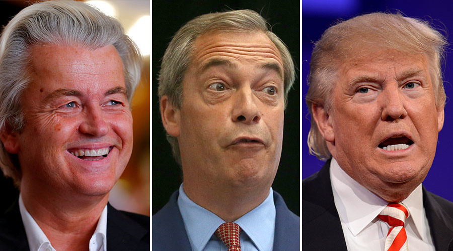 Dutch far-right Party for Freedom (PVV) leader Geert Wilders (L), Nigel Farage, the leader of the United Kingdom Independence Party (UKIP) (C), Republican presidential nominee Donald Trump (R). © Reuters
