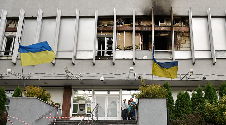 The Ukrainian Inter TV Channel building in Kiev, which was set on fire on September 4, 2016. © Sputnik