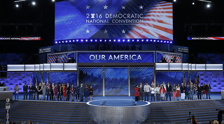 Congressional candidates that are running for office and being supported by the Democratic Congressional Campaign Committee appear onstage on the third day of the Democratic National Convention in Philadelphia, Pennsylvania, U.S. July 27, 2016. © Mike Segar