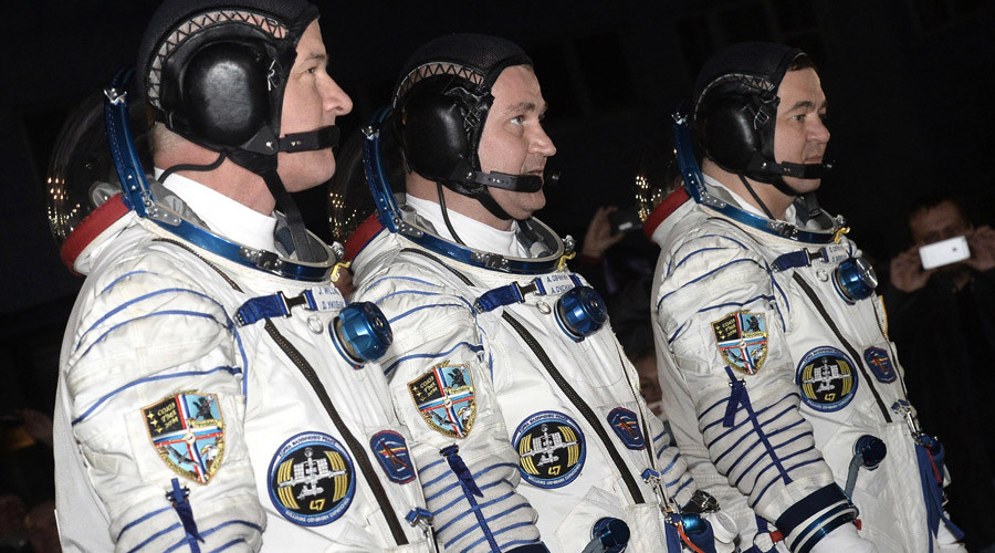 From left: members of the ISS 47/48 main crew Roscosmos cosmonauts Oleg Skripochka and Aleksey Ovchinin and NASA astronaut Jeffrey Williams © Ramil Sitdikov