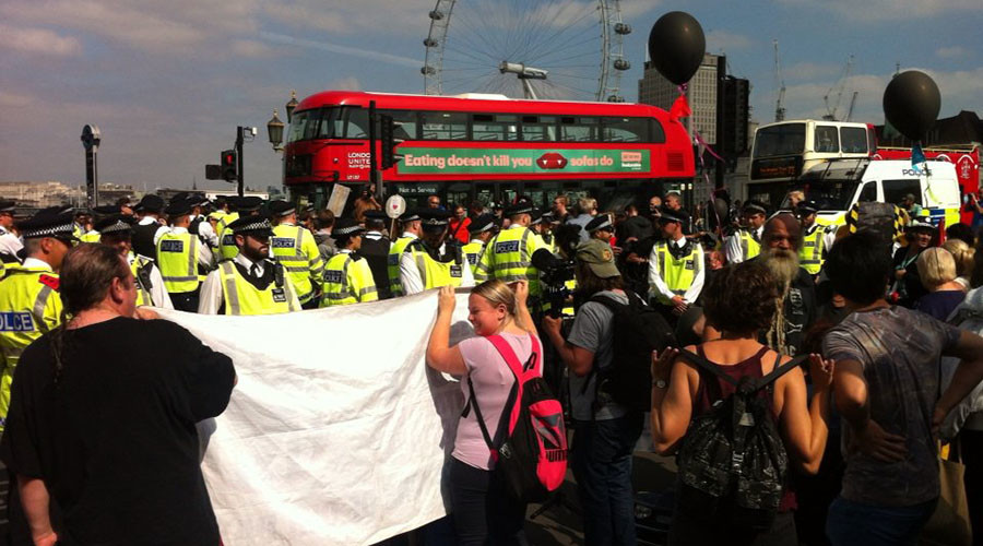 Disability rights activists shut down Westminster Bridge in anti-austerity protest