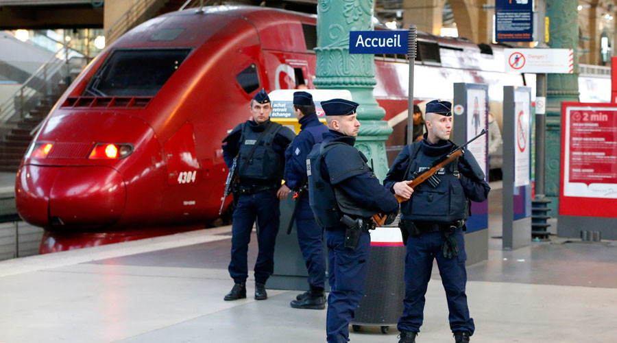 FILE PHOTO: Police patrol the Gare du Nord train station © Yves Herman
