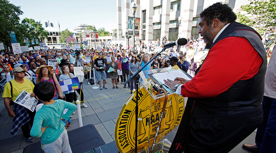 "Reverend William Barber II speaks out during a ""Moral Monday"" civil rights protest against North Carolina's HB2 ""bathroom law"" that restricts members of the LGBT community from using the bathroom of their choice on May 16, 2016 © Jonathan Drake"