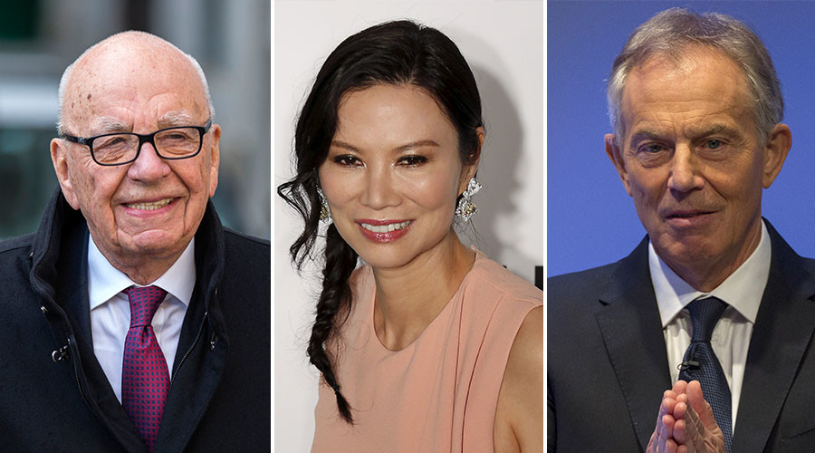 Rupert Murdoch, the chairman of News Corp and 21st Century Fox (L), Wendi Deng (C), Former British Prime Minister Tony Blair (R). © Reuters