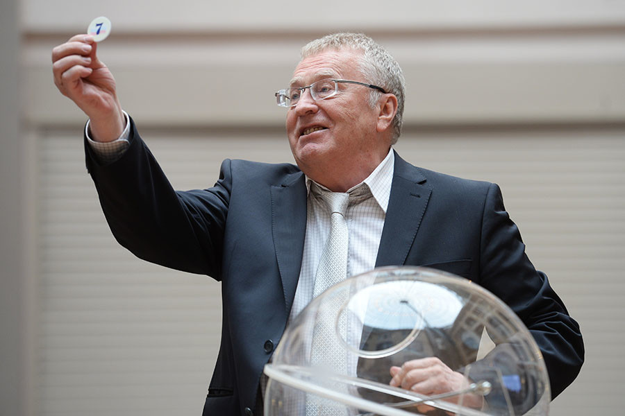 Vladimir Zhirinovsky, leader of the Liberal Democratic Party,during the draw to determine the position of political parties' names and logos in the ballots for voting in the federal districts at the State Duma federal election, in the offices of the Central Electoral Board of Russia,Moscow.© Sputnik