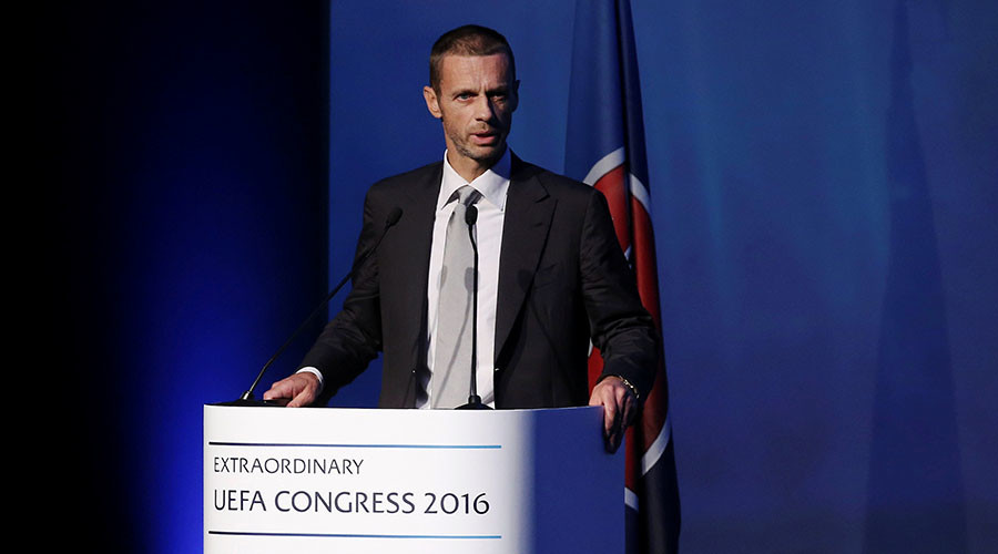 Aleksander Ceferin delivers a speech before the election for the new UEFA President in Athens, Greece September 14, 2016. © Alkis Konstantinidis