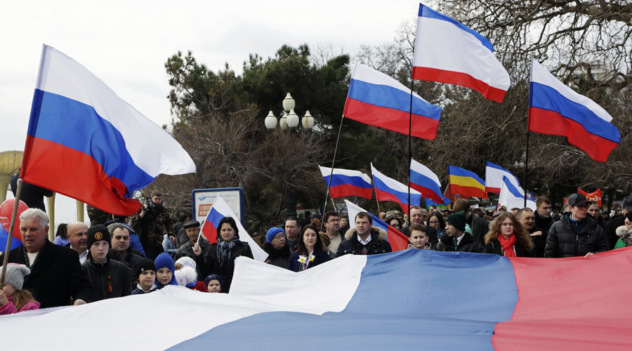 Participants of a festive event dedicated to the second anniversary of Crimea reuniting with Russia in Yalta. © Maks Vetrov