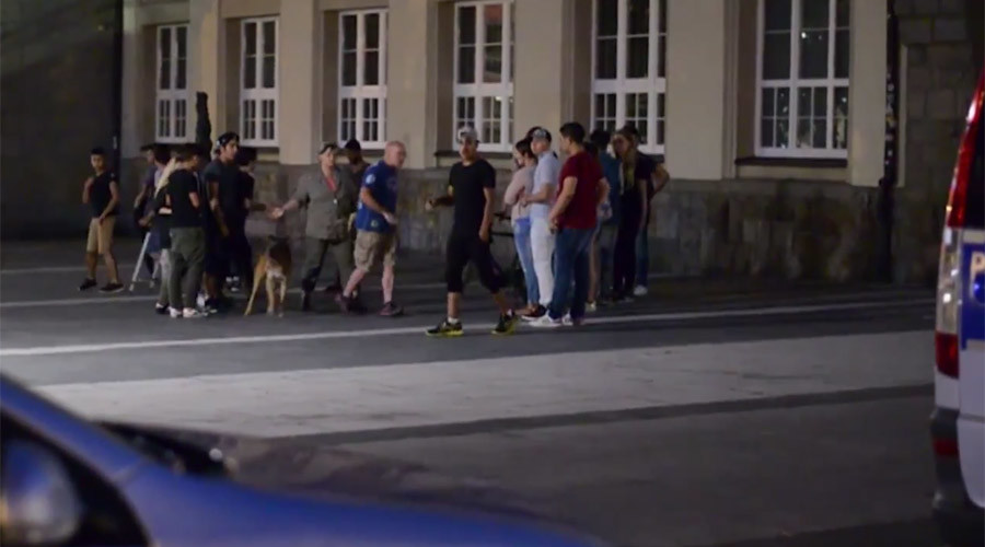 Bottles, wooden boards: Dozens of refugees, far-right mob & police clash in German town (VIDEO)