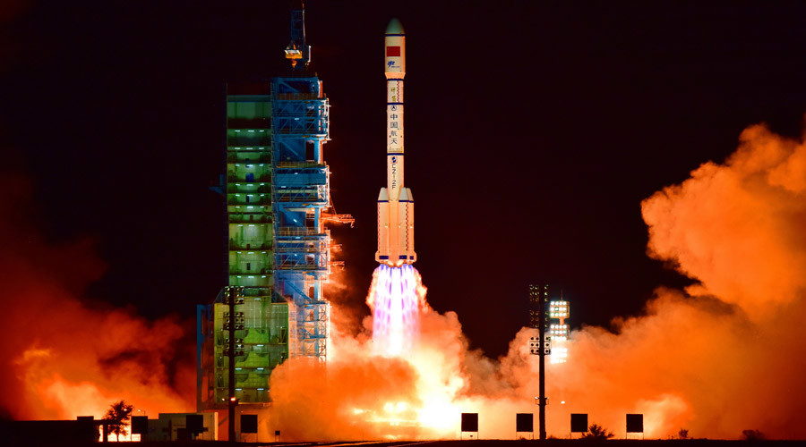 China's Tiangong 2 space lab is launched on a Long March-2F rocket from the Jiuquan Satellite Launch Center in the Gobi Desert, in China's Gansu province, on September 15, 2016. © China Out