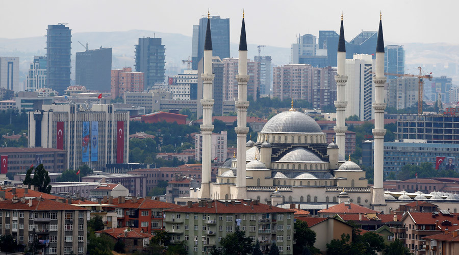 The Turkish capital's biggest mosque Kocatepe is pictured in Ankara, Turkey © Umit Bektas