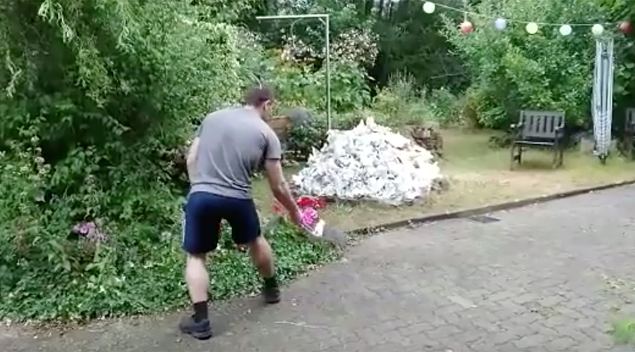 Man accidentally blows up garden as stunt backfires (VIDEO)