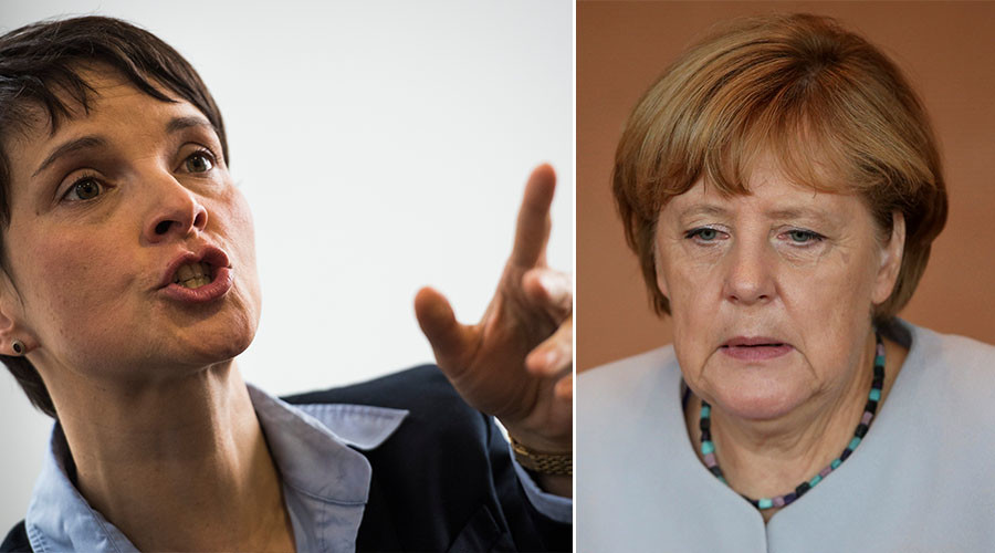 Frauke Petry, leader of the AfD (Alternative for Germany) party (L) and German Chancellor Angela Merkel. ©AFP