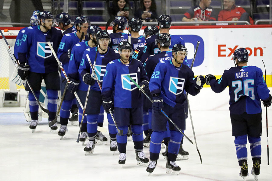 Team Europe celebrates after their victory against Team Sweden © Geoff Burke-USA TODAY Sports