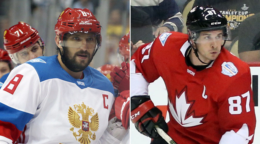 Team Russia's Alex Ovechkin (L) and Team Canada's Sidney Crosby. © USA TODAY Sports