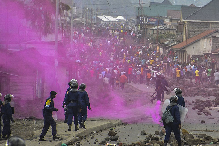 Flares are launched by DRCongo Police forces during a demonstration in Goma on September 19, 2016. At least 17 people, mostly civilians, were killed on September 19, 2016. ©Mustafa Mulopwe