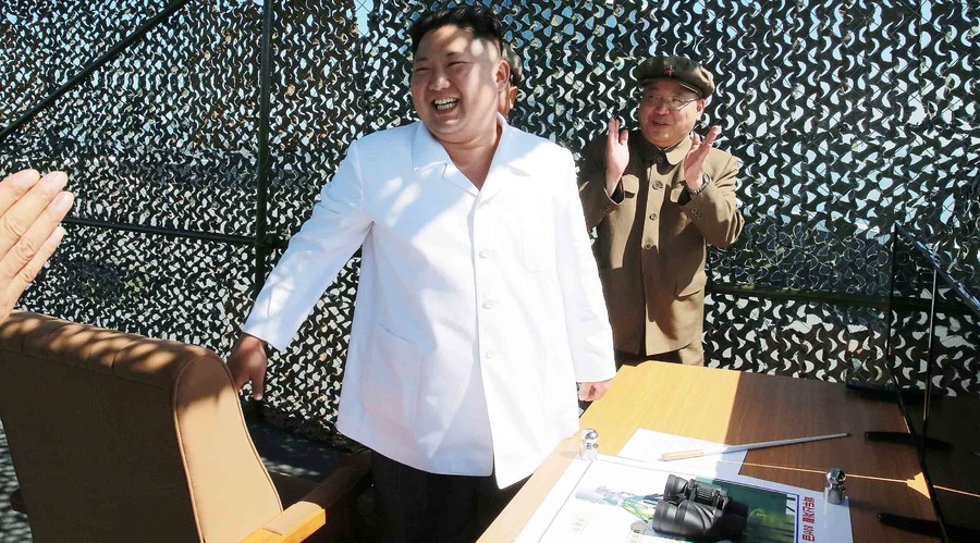 North Korean leader Kim Jung Un supervises a demonstration of a new rocket engine for the geo-stationary satellite at the Sohae Space Center n this undated photo released by North Korea's Korean Central News Agency (KCNA) in Pyongyang September 20, 2016. © KCNA