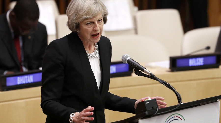 May launches post-Brexit charm offensive at UN, while wining & dining big business