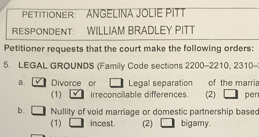 A copy of papers filed at Los Angeles Superior Court by Angelina Jolie shows her petition for divorce from her husband Brad Pitt in Los Angeles, California, U.S. September 20, 2016. ©Piya Sinha Roy