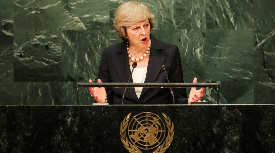 British Prime Minister Theresa May addresses the United Nations General Assembly in the Manhattan borough of New York, U.S. September 20, 2016. © Eduardo Munoz