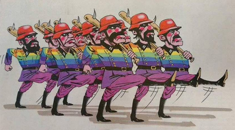 Internet vents fury at 'foul' cartoon equating gay marriage activists with Nazis