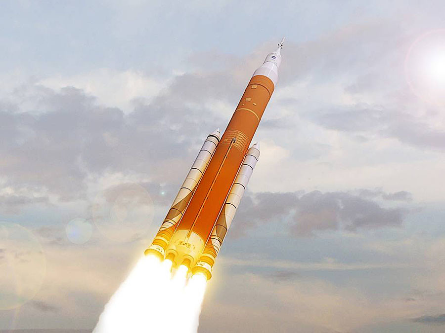 The SLS is an advanced, heavy-lift rocket that will provide an entirely new capability for science and human exploration beyond Earth's orbit. © NASA