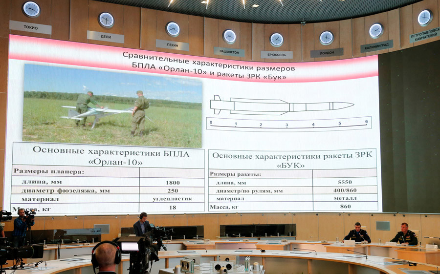 "A screen shows the specifications of the ""Orlan-10"" unmanned aerial vehicle (L) and the ""Buk"" missile system during a news conference, dedicated to the crash of the Malaysia Airlines Boeing 777 plane operating flight MH17, in Moscow, Russia, September 26, 2016. © Maxim Zmeyev"