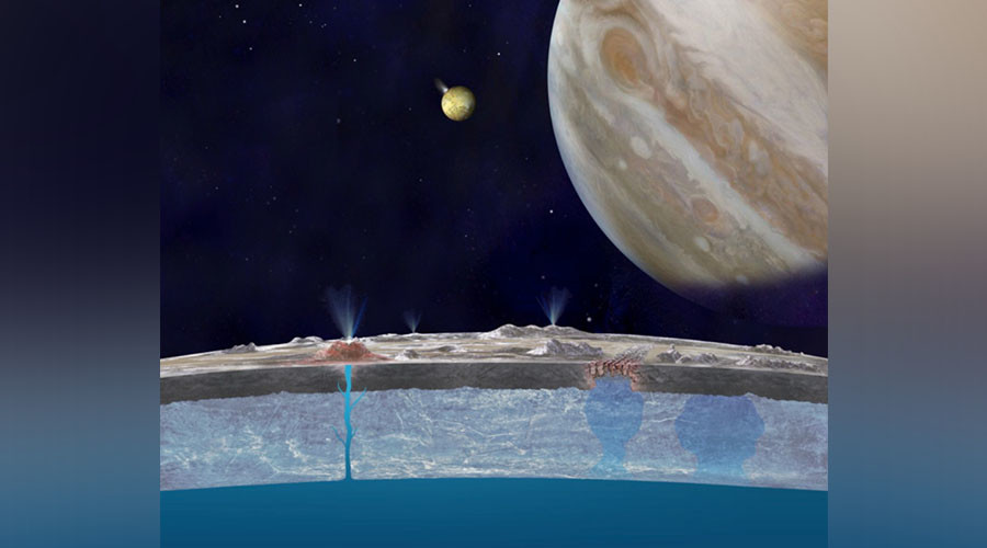 Scenario for getting water to Europa's surface. Artist's conception of ridges and fractures on Europa. © JPL-Caltech