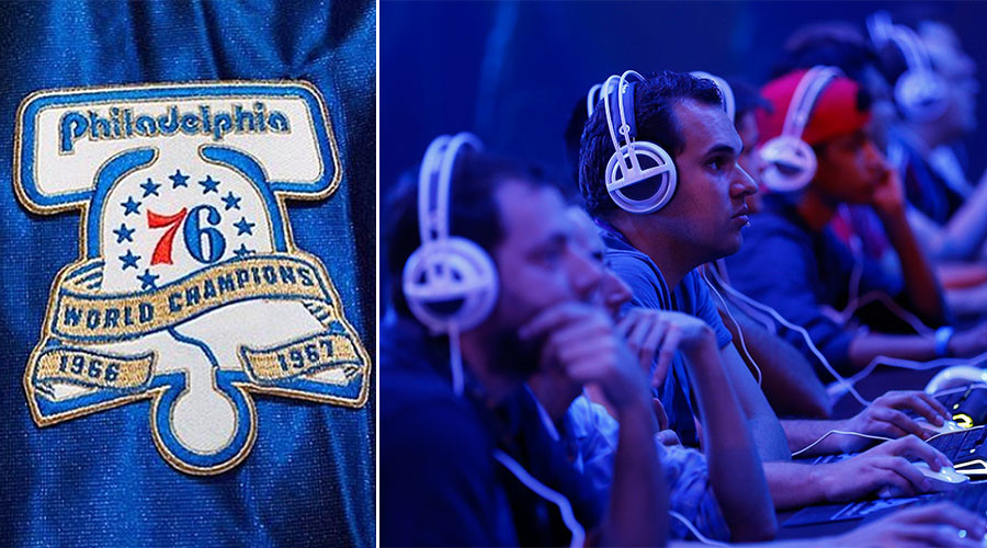 Philadelphia 76ers Logo (L), gamers during the Gamescom 2015 fair in Cologne, Germany (R). © Instagram / Reuters