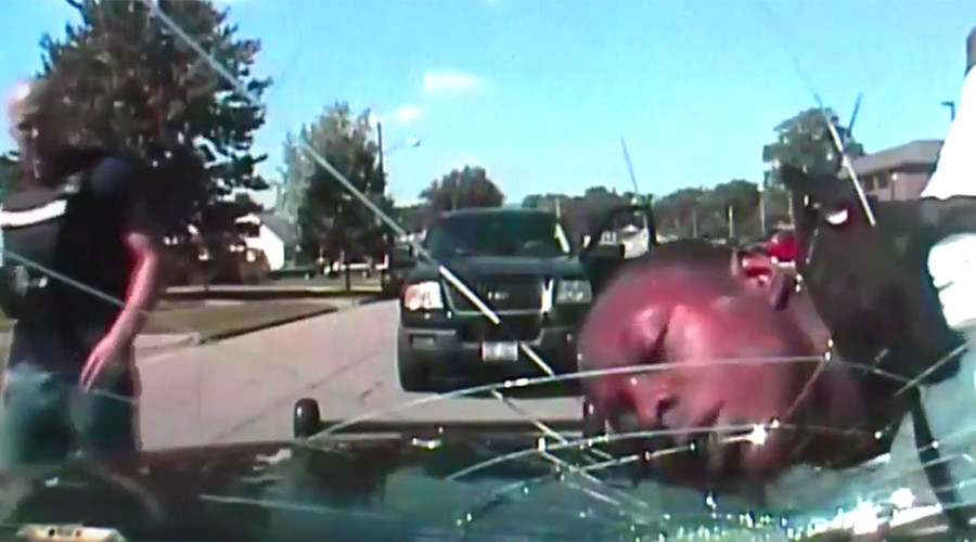 Ohio cop shatters windshield of police cruiser with handcuffed man's face (VIDEO)