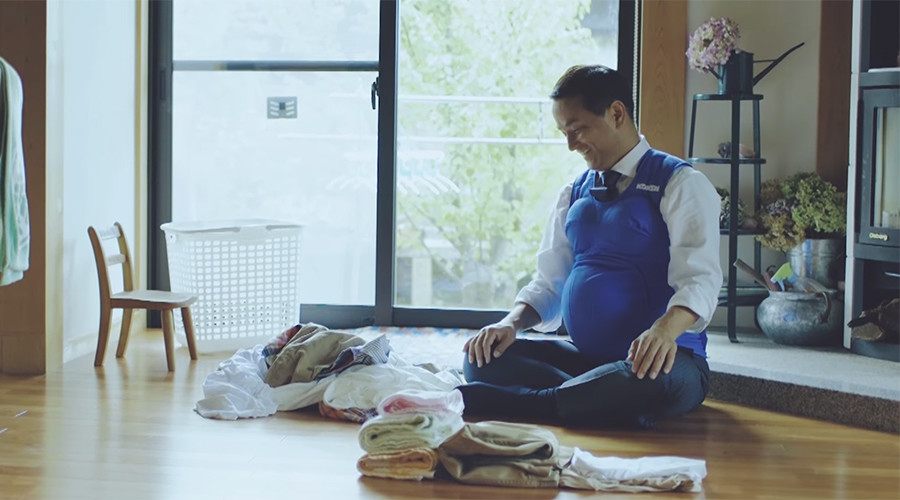 3 Japanese governors don 'pregnancy' vests urging men to help at home (VIDEO)