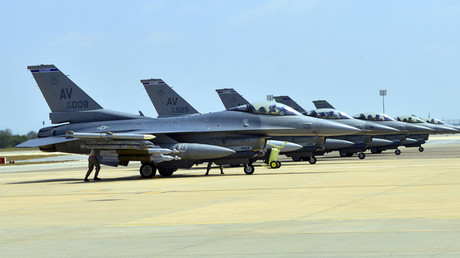 Six U.S. Air Force F-16 Fighting Falcons are seen at Incirlik Air Base, Turkey © U.S. Air Force