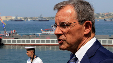 Thierry Mariani, a member of the Foreign Affairs Committee of the French Parliament, looks on during the Navy Day celebrations in Sevastopol, Crimea, July 31, 2016 © Pavel Rebrov