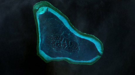 Landsat 7 image of Scarborough Shoal in the West Philippine Sea © wikipedia.org