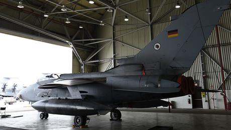 A German Tornado jet is pictured in a hangar at the air base in Incirlik, Turkey. ©Tobias Schwarz