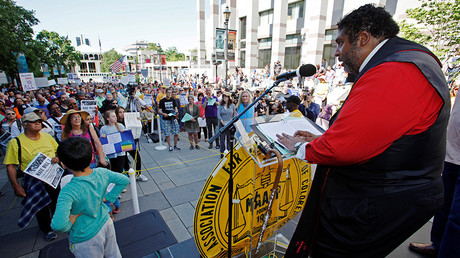 Reverend William Barber II speaks out during a