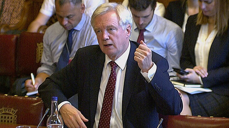David Davis, secretary of state for exiting the European Union, is seen in a still taken from video as he speaks to a committee of the House of Lords, in Westmisnter, London, Britain, September 12, 2016. © Parliament TV