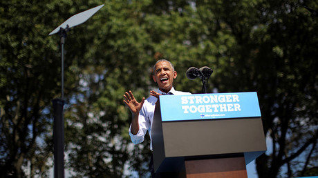 U.S. President Barack Obama speaks during a campaign event in support of U.S. Democratic presidential candidate Hillary Clinton in Philadelphia, Pennsylvania, U.S., September 13, 2016 © Carlos Barria