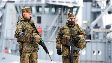 FILE PHOTO German army Bundeswehr soldiers patrol Naval Base Command in Kiel, Germany, © Fabian Bimmer