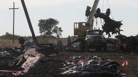 A crane moves wreckage at the crash site of Malaysia Airlines Flight MH17 © Maxim Zmeyev