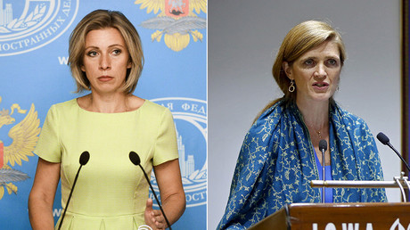 Russian Foreign Ministry's spokesperson Maria Zakharova and U.S. Ambassador to the United Nations Samantha Power © Sputnik / Reuters