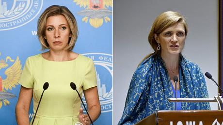 Russian Foreign Ministry's spokesperson Maria Zakharova and U.S. Ambassador to the United Nations Samantha Power © Sputnik / Reuters