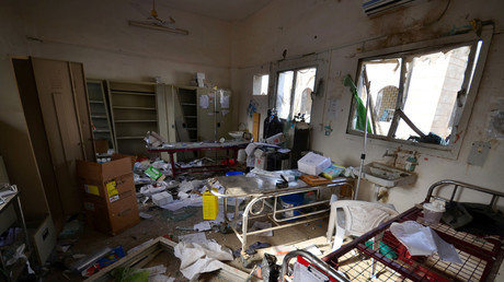 Damage is seen inside a hospital operated by Medecins Sans Frontieres after it was hit by a Saudi-led coalition air strike in the Abs district of Hajja province, Yemen August 16, 2016. © Abduljabbar Zeyad